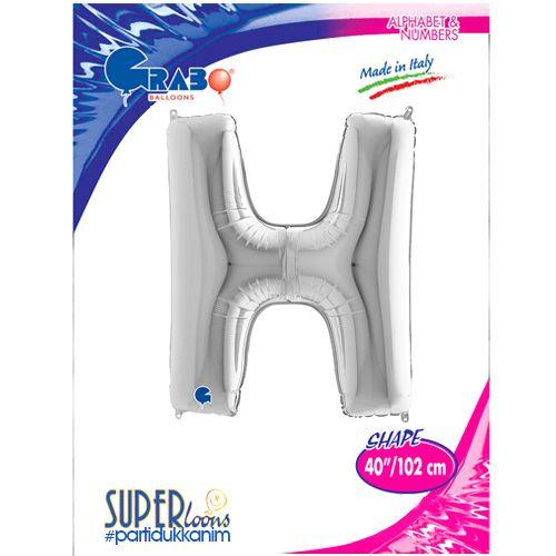 H - Harf Folyo Balon Gümüş (100 cm), fiyatı