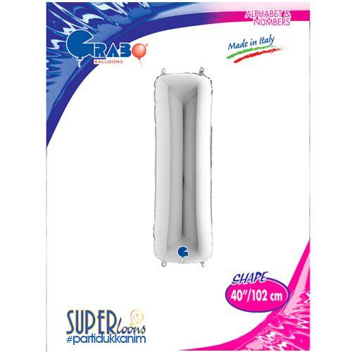 I - Harf Folyo Balon Gümüş (100 cm), fiyatı