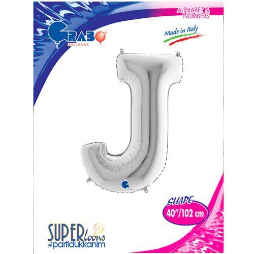 J - Harf Folyo Balon Gümüş (100 cm), fiyatı