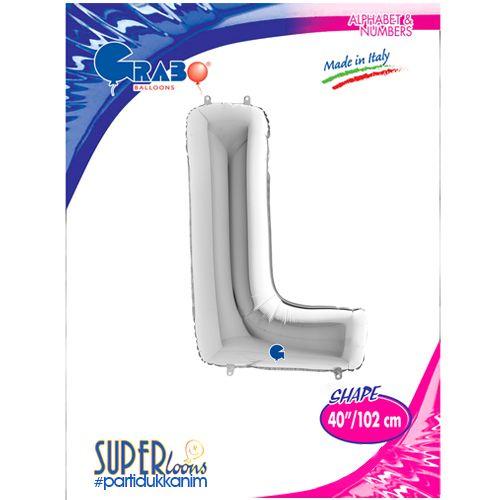 L - Harf Folyo Balon Gümüş (100 cm), fiyatı
