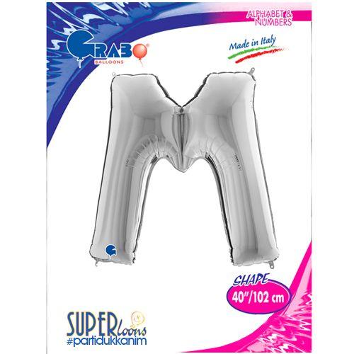 M - Harf Folyo Balon Gümüş (100 cm), fiyatı