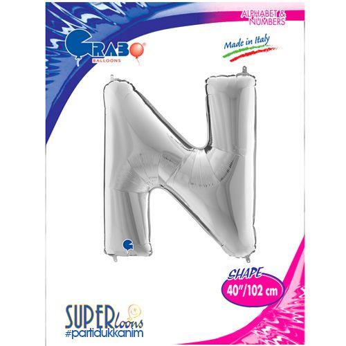N - Harf Folyo Balon Gümüş (100 cm), fiyatı