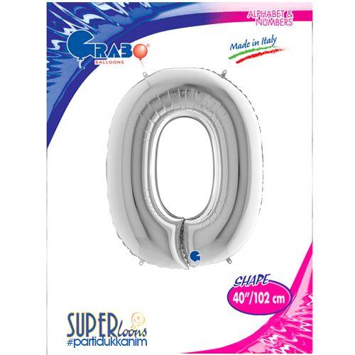 O - Harf Folyo Balon Gümüş (100 cm), fiyatı