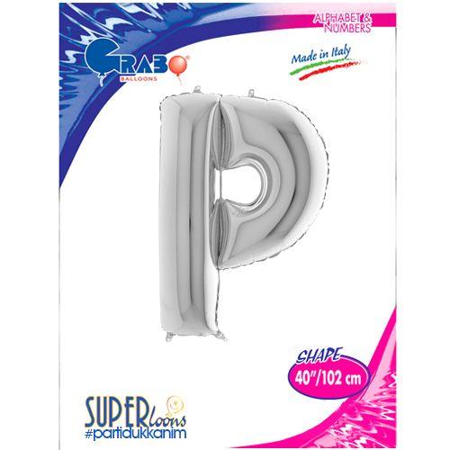 P - Harf Folyo Balon Gümüş (100 cm), fiyatı