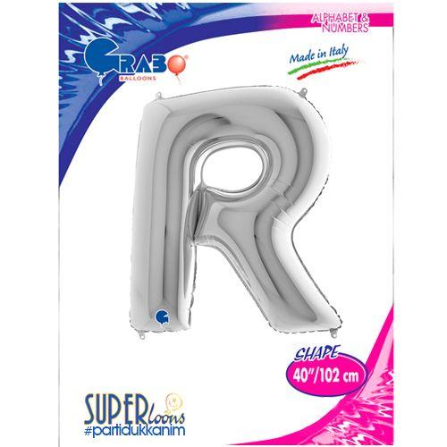 R - Harf Folyo Balon Gümüş (100 cm), fiyatı