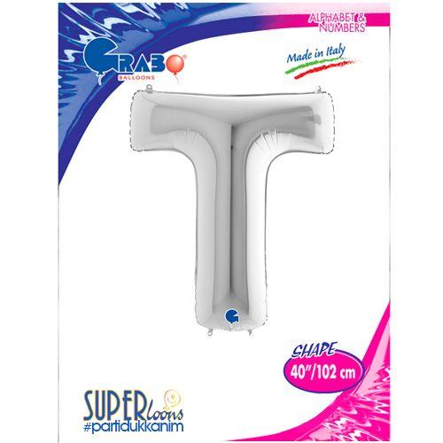 T - Harf Folyo Balon Gümüş (100 cm), fiyatı