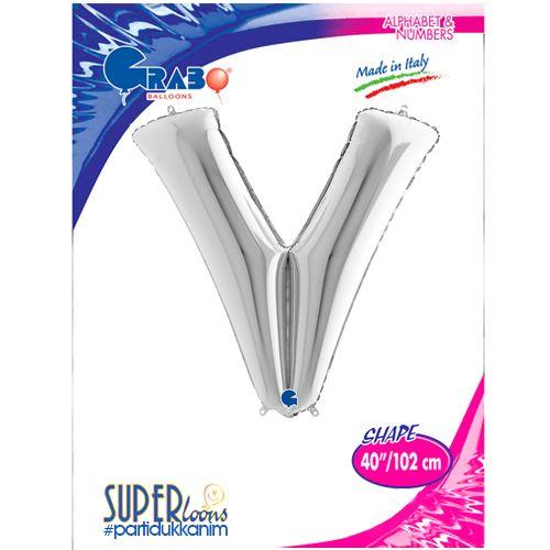 V - Harf Folyo Balon Gümüş (100 cm), fiyatı