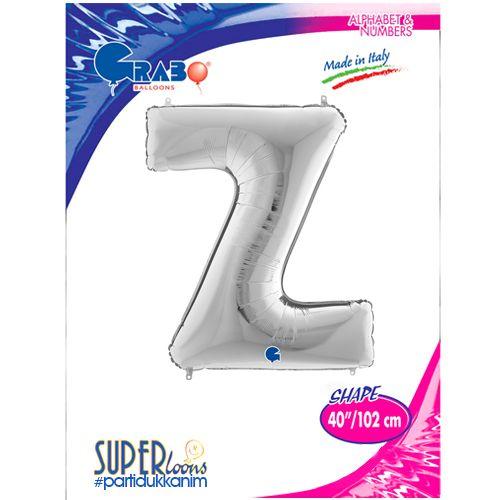 Z - Harf Folyo Balon Gümüş (100 cm), fiyatı
