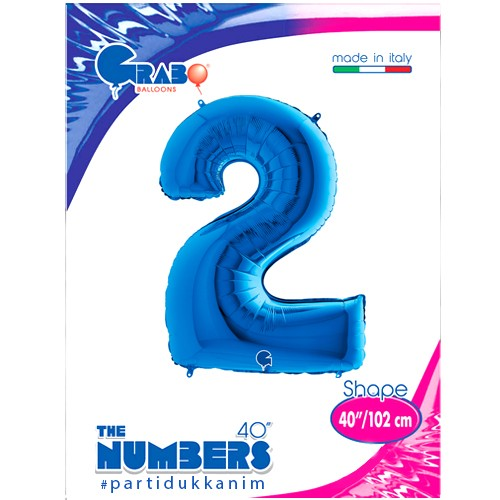2 Rakam Folyo Balon Mavi (100x70 cm), fiyatı