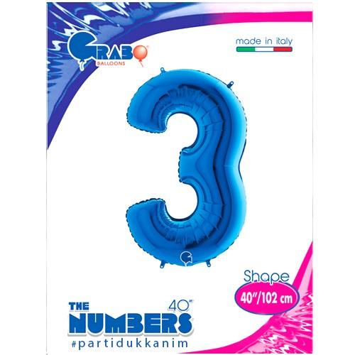 3 Rakam Folyo Balon Mavi (100x70 cm), fiyatı