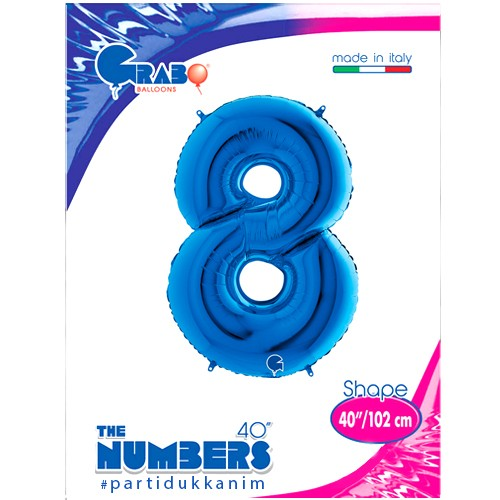 8 Rakam Folyo Balon Mavi (100x70 cm), fiyatı