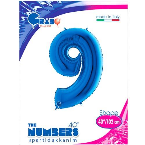9 Rakam Folyo Balon Mavi (100x70 cm), fiyatı