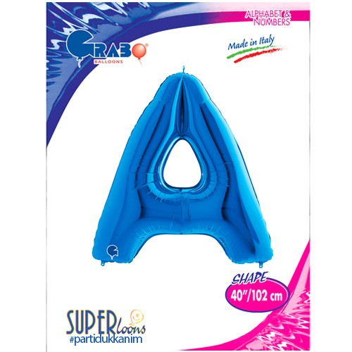 A - Harf Folyo Balon Mavi (100 cm), fiyatı