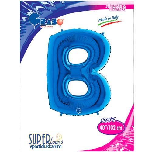 B - Harf Folyo Balon Mavi (100 cm), fiyatı