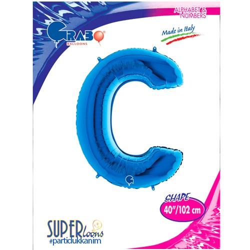 C - Harf Folyo Balon Mavi (100 cm), fiyatı
