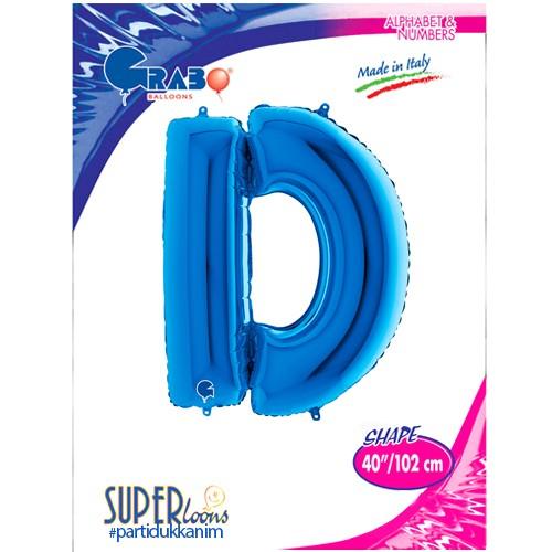 D - Harf Folyo Balon Mavi (100 cm), fiyatı
