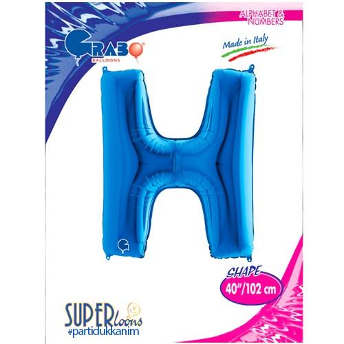 H - Harf Folyo Balon Mavi (100 cm), fiyatı