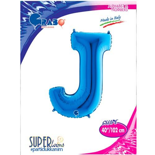 J - Harf Folyo Balon Mavi (100 cm), fiyatı