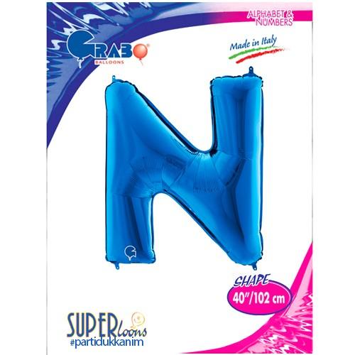 N - Harf Folyo Balon Mavi (100 cm), fiyatı