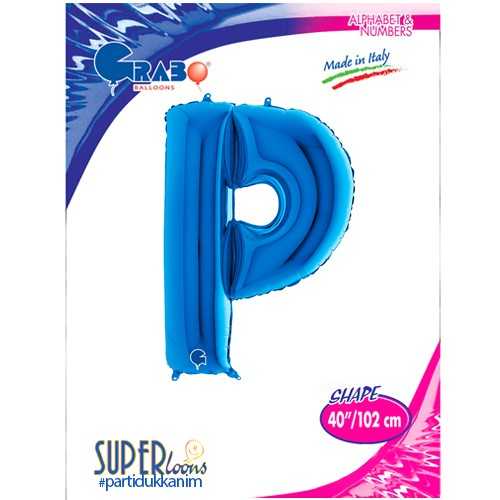 P - Harf Folyo Balon Mavi (100 cm), fiyatı