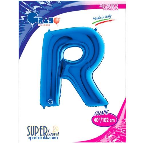 R - Harf Folyo Balon Mavi (100 cm), fiyatı