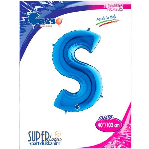 S - Harf Folyo Balon Mavi (100 cm), fiyatı