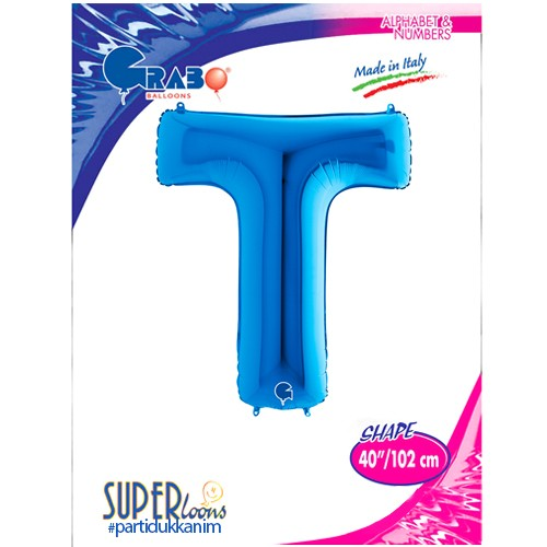 T - Harf Folyo Balon Mavi (100 cm), fiyatı