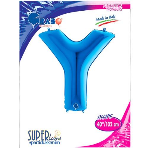 Y - Harf Folyo Balon Mavi (100 cm), fiyatı