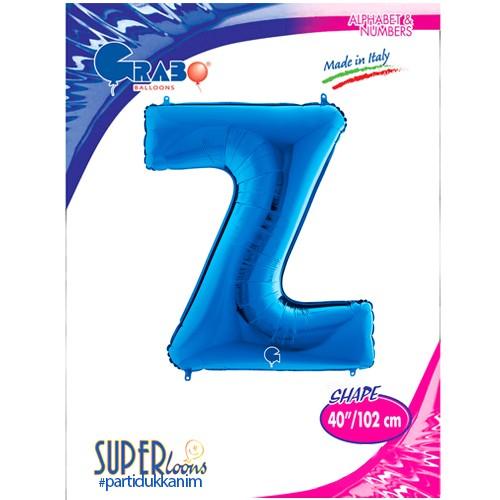 Z - Harf Folyo Balon Mavi (100 cm), fiyatı