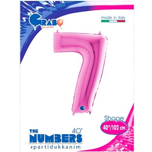 7 Rakam Folyo Balon Pembe (100 cm), fiyatı