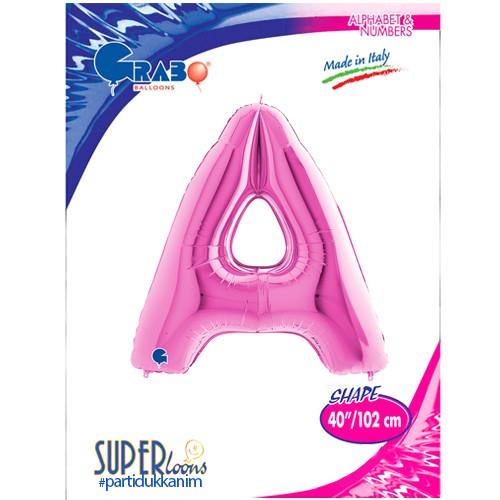A - Harf Folyo Balon Pembe (100 cm), fiyatı