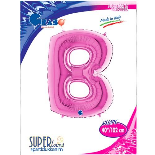 B - Harf Folyo Balon Pembe (100 cm), fiyatı