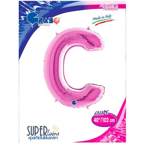 C Harf Folyo Balon Pembe (100 cm), fiyatı