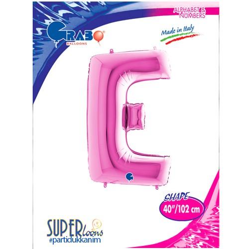 E - Harf Folyo Balon Pembe (100 cm), fiyatı