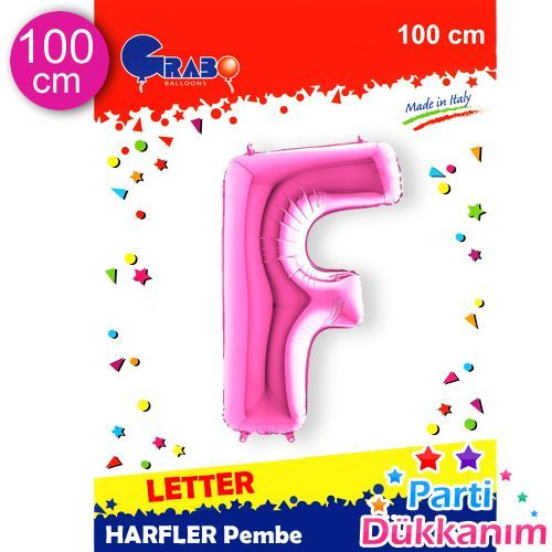 F - Harf Folyo Balon Pembe (100 cm), fiyatı