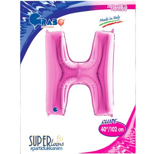 H - Harf Folyo Balon Pembe (100 cm), fiyatı