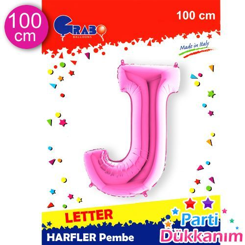 J - Harf Folyo Balon Pembe (100 cm), fiyatı