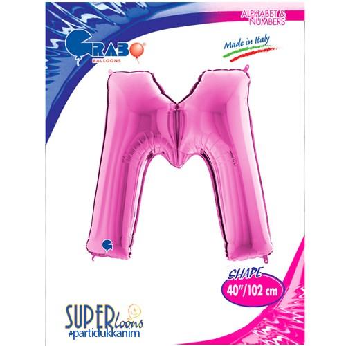 M - Harf Folyo Balon Pembe (100 cm), fiyatı