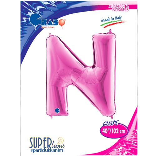 N - Harf Folyo Balon Pembe (100 cm), fiyatı