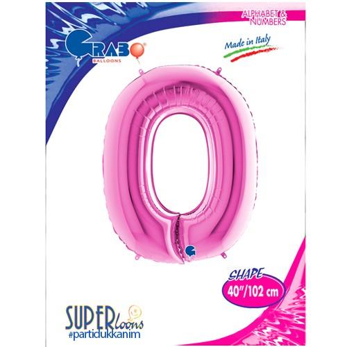 O - Harf Folyo Balon Pembe (100 cm), fiyatı