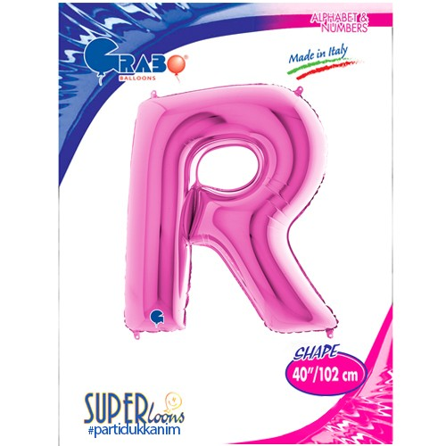 R - Harf Folyo Balon Pembe (100 cm), fiyatı