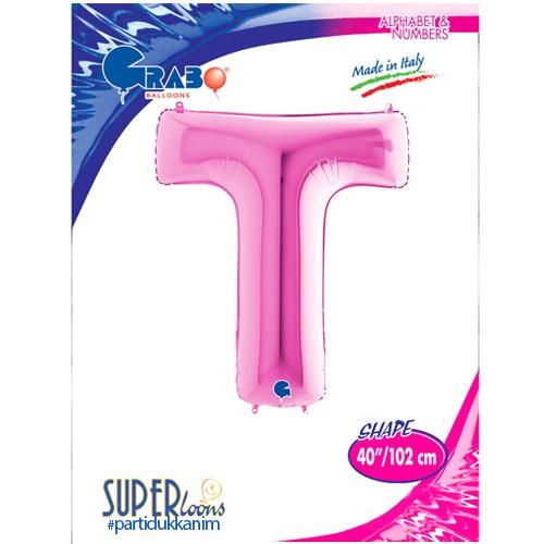 T - Harf Folyo Balon Pembe (100 cm), fiyatı