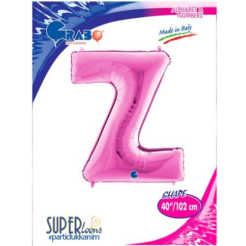 Z - Harf Folyo Balon Pembe (100 cm), fiyatı