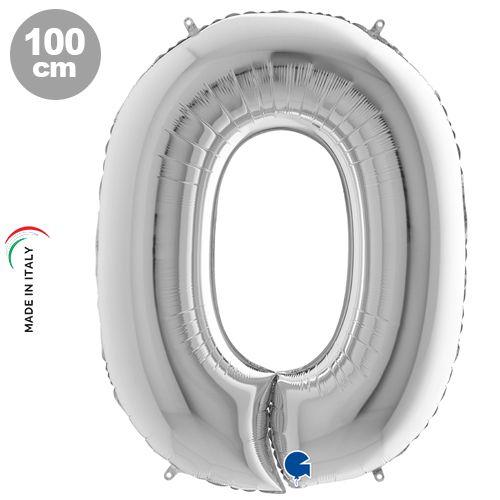 0 Rakam Folyo Balon Gümüş (100x70 cm)