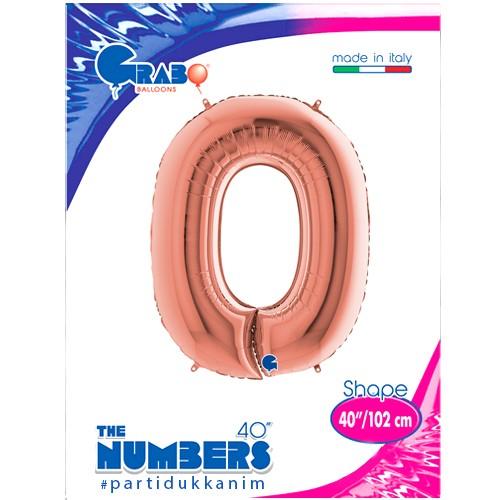 0 Rakam Folyo Balon Rose Gold (100x70 cm), fiyatı