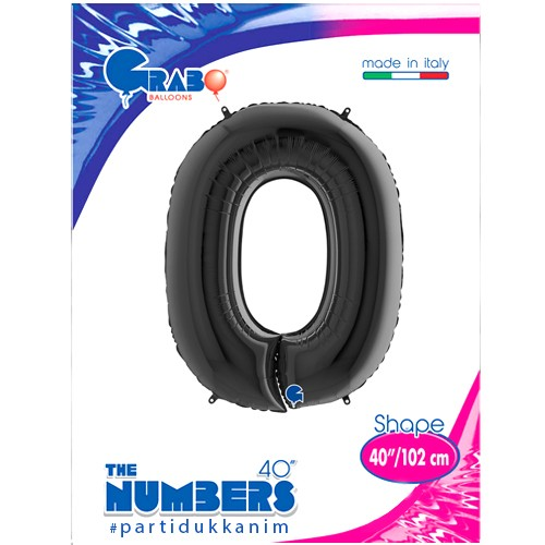 0 Rakam Folyo Balon Siyah (100x70 cm), fiyatı