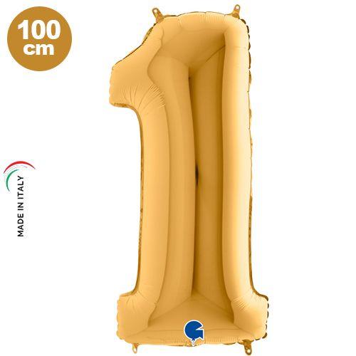 1 Rakam Folyo Balon Gold (100x35 cm)