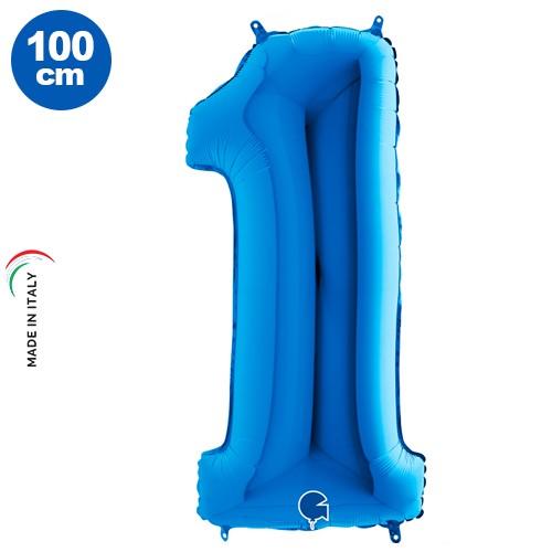1 Yaş Mavi Folyo Balon (100x35 cm)