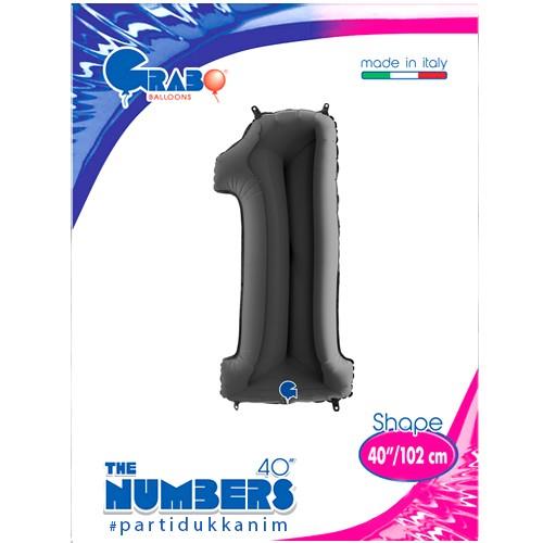 1 Rakam Folyo Balon Siyah (100x35 cm), fiyatı