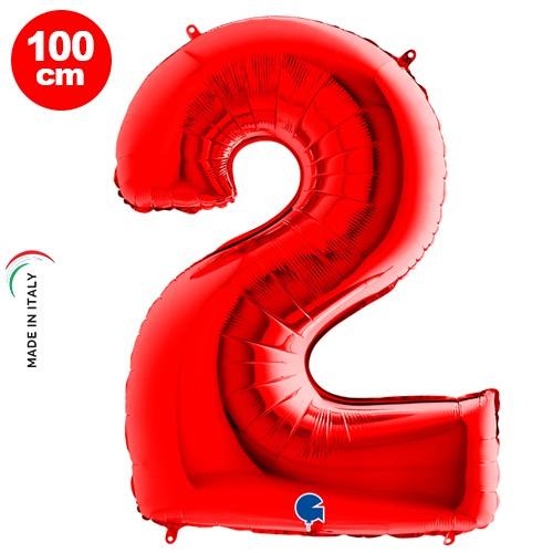 2 Rakam Folyo Balon Kırmızı (100x70 cm)